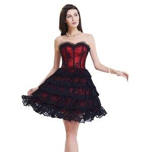 Image 1 - Corset met jurk steampunk gothic bustier Vrouwen Afslanken sexy taille kant bovenborst taille trainer party corset jurk top