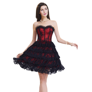 Image 1 - corset with dress steampunk gothic bustier Women Slimming sexy waist lace overbust waist trainer party corset dress top