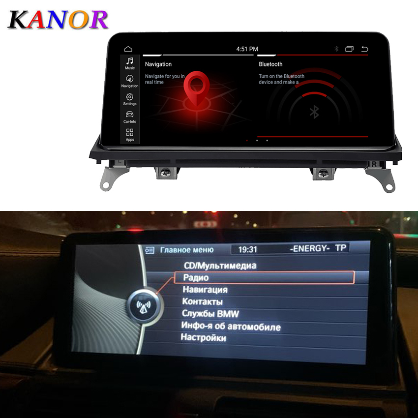 KANOR 10.25inch ID7 4G+64G Android 10.0 car multimedia player <font><b>gps</b></font> navigation <font><b>for</b></font> <font><b>BMW</b></font> X5 E70 <font><b>X6</b></font> E71 with CIC CCC system 2007-2013 image