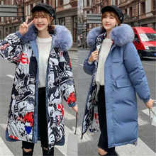 Jas Hooded Parka Jas Winter Womens lange Omkeerbaar Down Fur Puffer Gewatteerde(China)