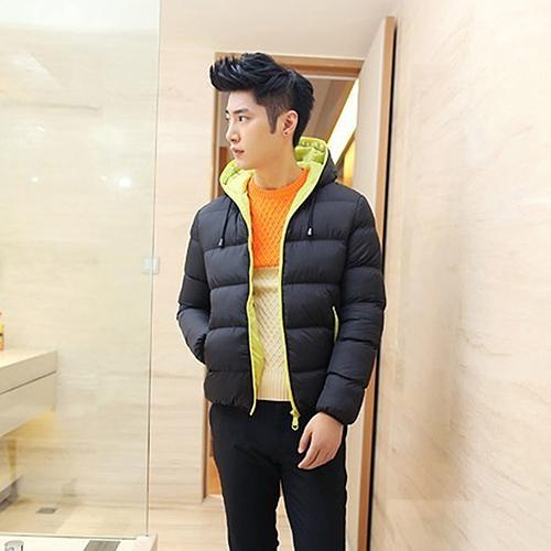 Men Winter Warm Down Jacket Casual Long Sleeve Padded Hooded Zipper Coat Outdoor Windproof Warm Streetwear Xmas Gift For Male