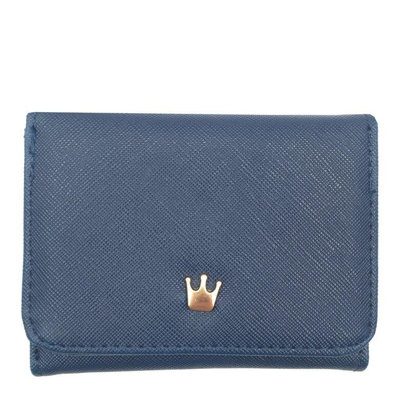 Женский кошелек, женские короткие кошельки, украшенные короной, Мини кошельки для денег, маленькие складные кошельки из искусственной кожи, женский кошелек, держатель для карт - Цвет: Blue
