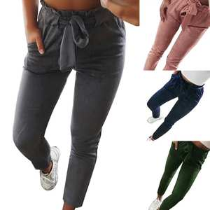 Fashion Lady Solid Color Stripe Flouncing High Waist Slim Cropped Jeans Trousers