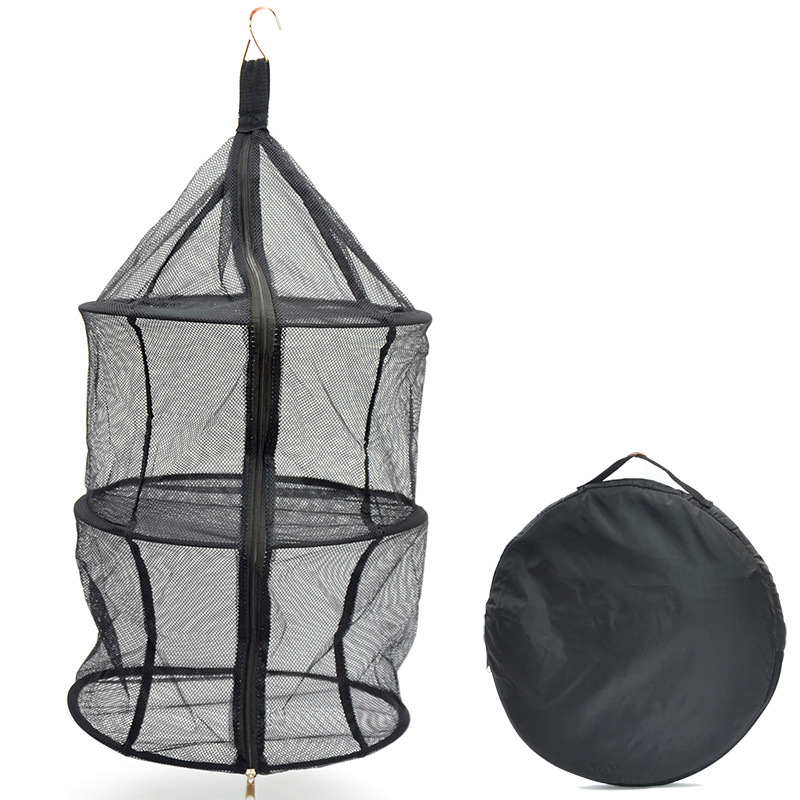 Outdoor Camping Nylon Three Layer Folding Storage Net Bag Clothes Hanging Net Circle Drying Mesh Fruit And Vegetable Dry Network