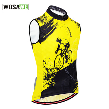 WOSAWE Men Moto kolarska koszulka bez rękawów rowerowa wyścigi rowerowe wierzchnia kamizelka z tylnymi kieszeniami odblaskowe oddychające kamizelki motocyklowe tanie i dobre opinie 100 poliester