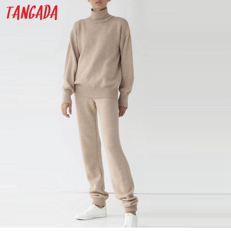 Tangada, Otoño Invierno 2020, conjunto de traje de punto grueso de 2 piezas para mujer, jerséis de cuello alto, pantalones largos tejidos, trajes de punto AI29 Melissa Adulto Cosmic II zapatos de jalea mujer Melissa sandalias 2020 nuevos zapatos de jalea mujer Sandalia Melissa marca femenina
