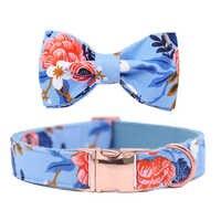 Hund oder Katze Kragen oder Leine mit Bögen Grau Dots Design mit Baumwolle Gurtband Blau Blume