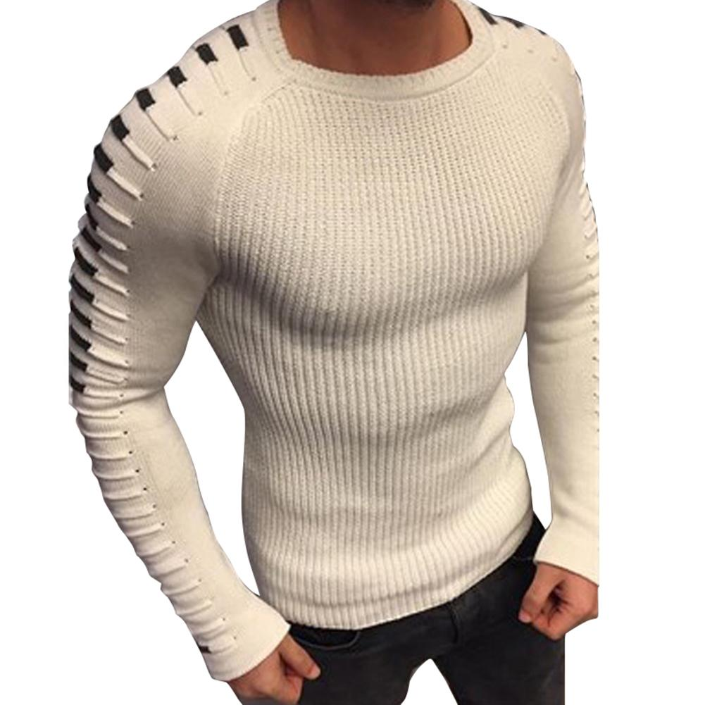 2020 Free Shipping Fashion Men Pleated Sweater Round Neck Long Sleeve Knitwear Slim Pullover