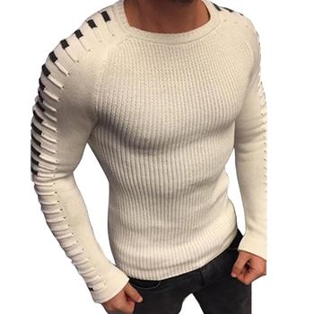 white men pleated sweater roud neck long sleeve