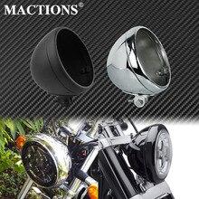 Couvercle universel de phare de moto 7 noir/Chrome, couvercle de couvercle de seau, support inférieur pour Harley Dyna XL personnalisé