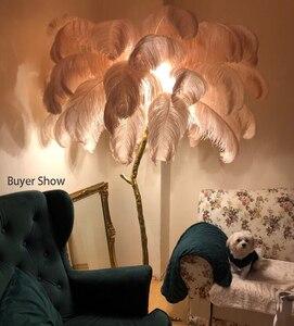 Image 3 - Piuma di Struzzo Luce Della Lampada Moderna Da Terra In Rame Luce Living Room Hotel Illuminazione A Pavimento