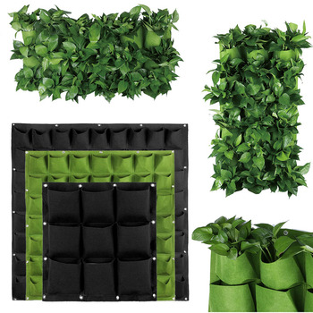 2/3/4/6/9/12/18 Green Planting Bag Vertical Wall Hanging Growing 1