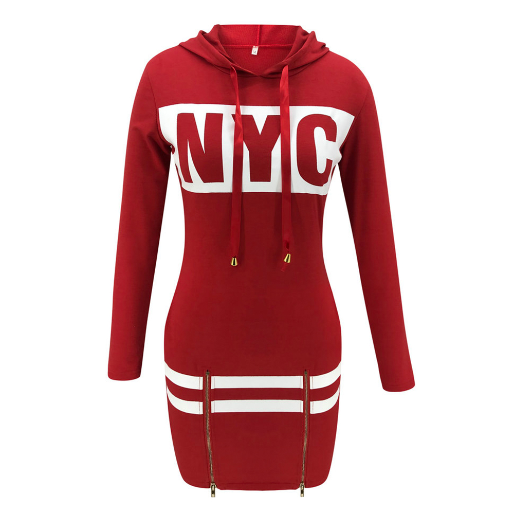 H1ee2d0f5a7684ba683c48188f5d4f070m - Autumn Hoodies Dress Women Letter Print Hooded Dresses Lady Casual Zipper Drawstring Stripe Sweatshirt Dress ropa mujer D30