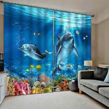 3D Blackout Curtains Living Room Bedroom Hotel Window curtains blue curtains dolphin Blackout curtain цена в Москве и Питере
