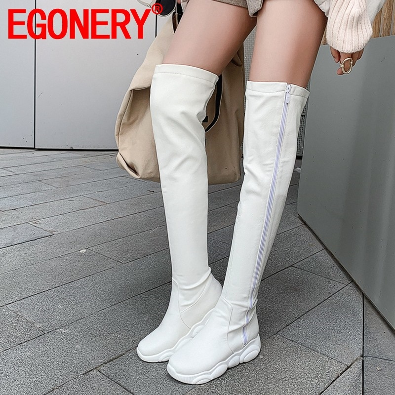 EGONERY winter new concise casual over knee boots outside comfortable mid heels platform women shoes drop shipping size 32-45