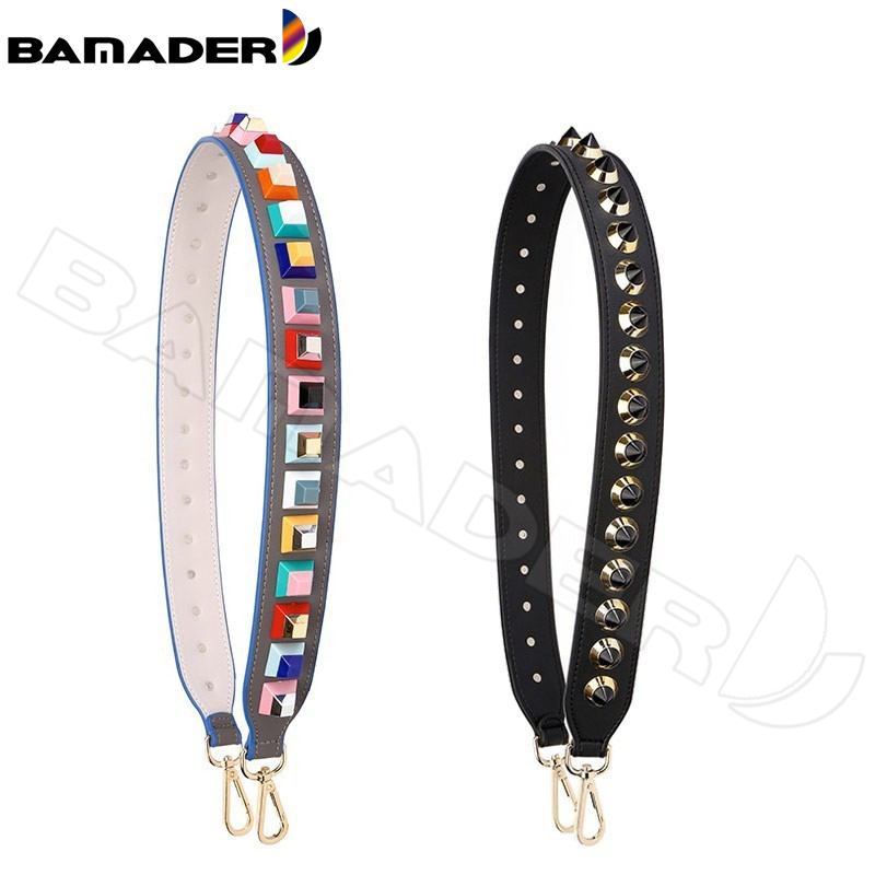 BAMADER Fashion Rivet Bag Strap High Quality  Leather Shoulder Strap Rivet Accessories Female Handles Strap Multicolor Rivet