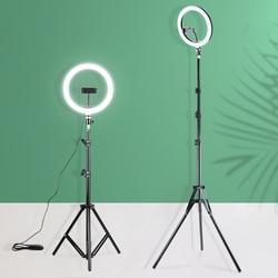 26 см светодиодный кольцевой светильник для селфи со штативом и держателем для телефона, светильник для фотосъемки, лампа для фотостудии, ко...