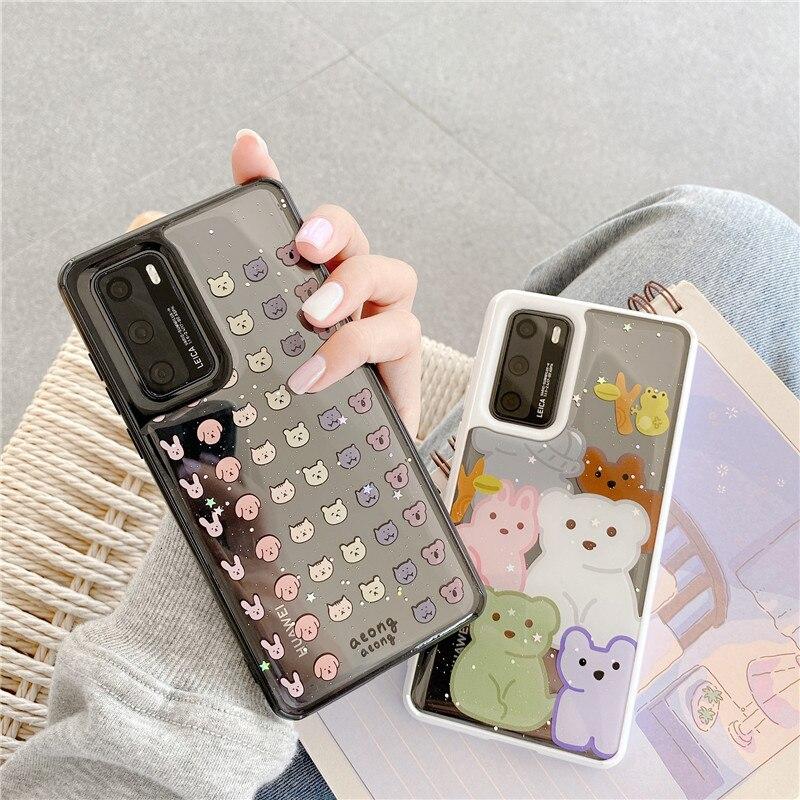 Cute Cartoon Animal Head Phone Case For Huawei P40 P20 P30 Pro Mate30 Pro Nova 6 SE Cover Luxury Glitter Transparent Soft Cases