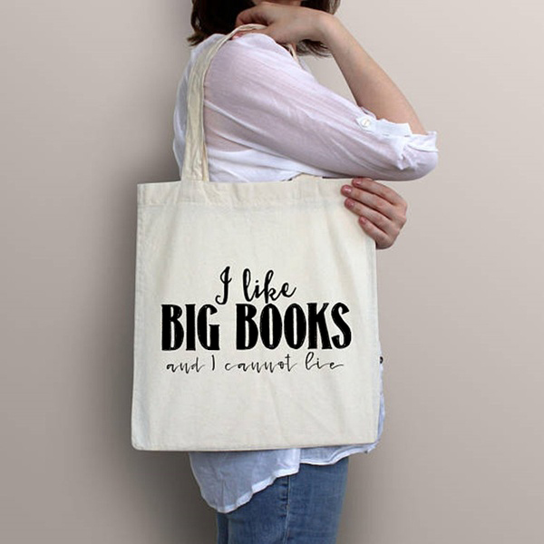 Canvas Tote Bag I Like Big Books And I Cannot Lie Slogan Funny Women Fashion Canvas Bag Shopping Bags Travel Bag Cosmetic Zipper