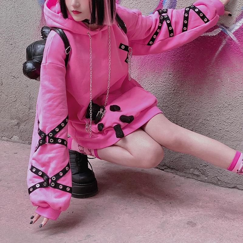 Ruibbit зимний плюшевый утепленный розовый свитшот с капюшоном в стиле Харадзюку Повседневный милый крутой пуловер с длинным рукавом для деву...
