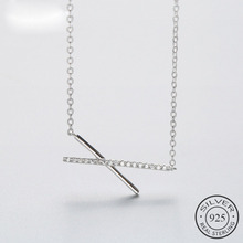 Minimalist Real 925 Sterling Silver Zircon Crystal Stick Bar Pendant Necklace For Women Fine Jewelry Geometric 2018 Gift