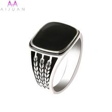 AIJUAN anillo de aleación Vintage Chapado en plata envejecida Flor de arroz negro anillos retro de resina para hombre joyería antigua al por mayor