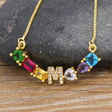Micro Pave Zircon Initial 26 Letter Name Choker Necklace Charm Gold Statement Pendant Necklace For Women Jewelry Accessories 2019 statement multilayer letter pendant necklace charm gold necklace bread beads chain necklace jewelry for women