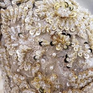 Image 5 - HTL1124 זהב תחרה חתונה שמלות נסיכה לחתוך o צוואר פאייטים ארוך שרוול שמלות כלה שמפניה vestido דה noiva מנגה longa