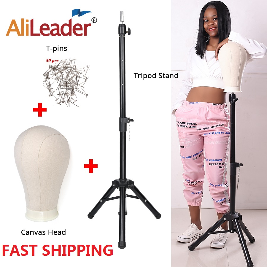 Alileader New 125Cm Wig Stand Wig Tripod With Mannequin Canvas Block Head Adjustable Tripod Stand And  Wig Making Kit TPins Gift