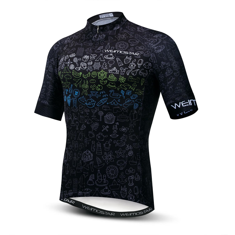 2020 Weimostar Wielertrui mens mtb Jerseys road fiets shirts Korte Mouw Ropa Ciclismo maillot Racing tops Zwart rood