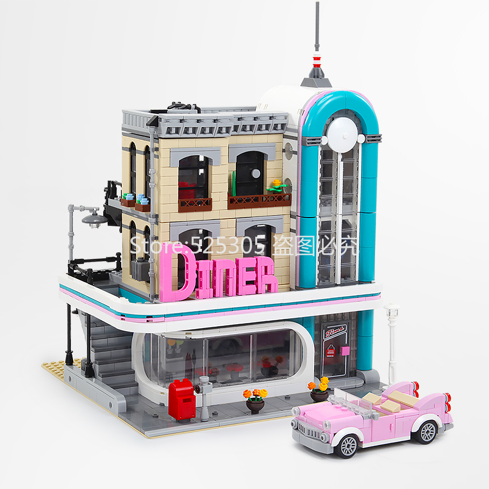 In Stock 15037 Creator Street Downtown Diners Street View Model Building Blocks Bricks Kids Education Toys Compatible 10260
