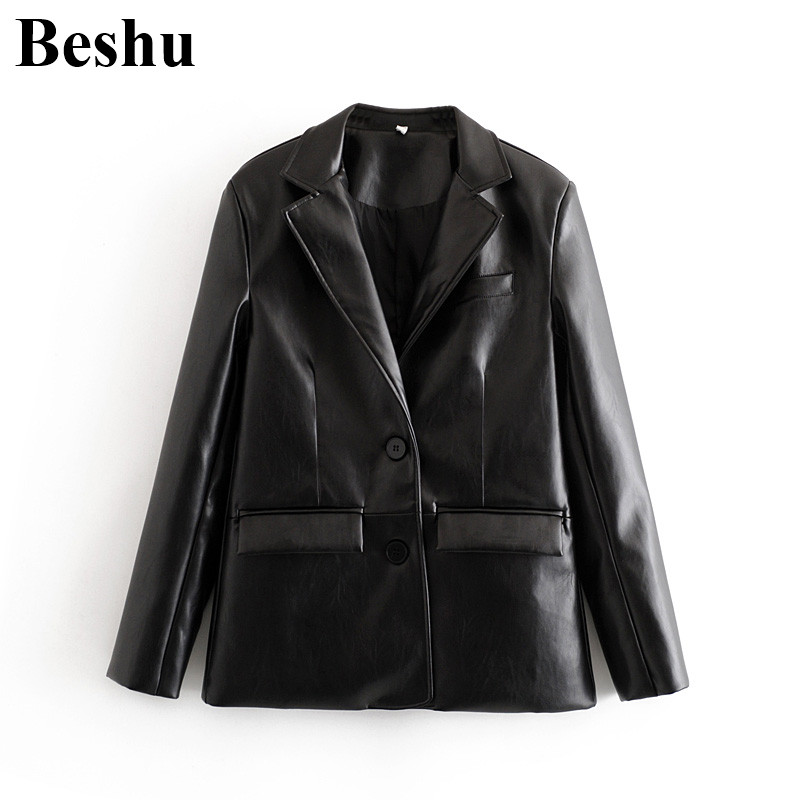 Za 2019 Fashion Blazer Women Black Faux Leather PU Single-breasted Multi-pockets Blazer Long Sleeve Casual Handsome Lady Clothes