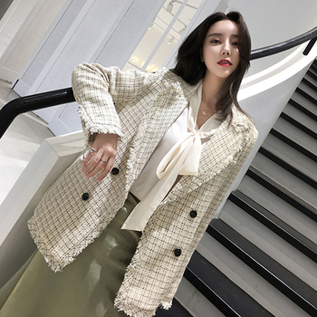 Women Blazer Casual Office Plaid Jacket Autumn Notched Collar Long Sleeve Tweed Suit Ladies Jackets Double Breasted Blazer Coat star same style loose casual open style casual heavy pants suit commuter 2019 notched double breasted jacket women coat