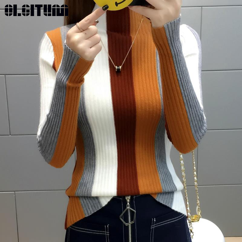 Rainbow Stripe Sweater Knitted Pullover 2020 Turtleneck Long Sleeve Slim Bodycon Ptchwork Knitwear Women Jumper Tops