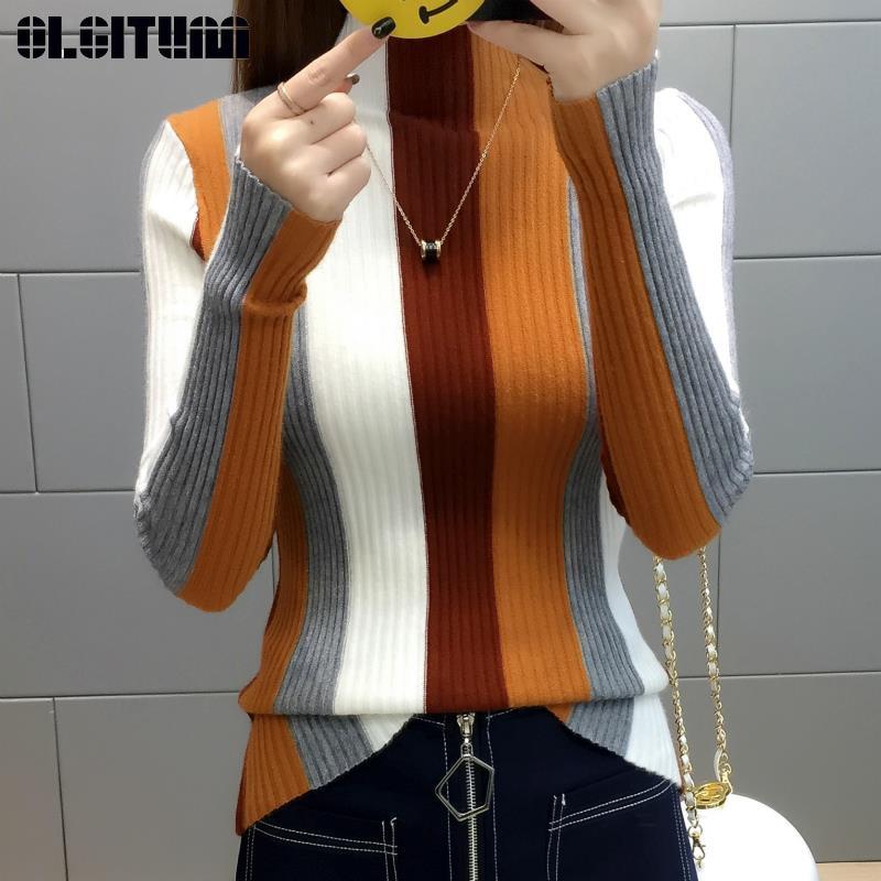 Rainbow Stripe Sweater Knitted Pullover 2020 Turtleneck Long Sleeve Slim Bodycon Ptchwork Knitwear Women Jumper Tops