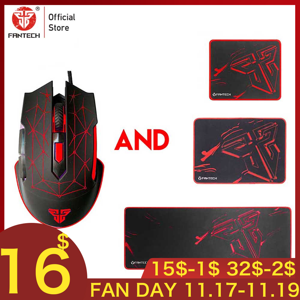 FANTECH X7 Gaming Mouse And Mousepad Adjustable 4800 DPI 6 Buttons RGB Essential Ergonomic Mouse Mice Non-slip Mouse Pad Gamer
