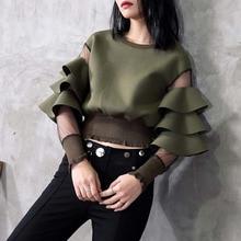 Ruffles Long Sleeve Women Blouse 2020 Korean Gothic Fashion Mesh See Through Round Neck Falbala Short Female Tops Chic Shirts mock neck see through mesh blouse