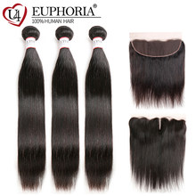 Natural Color Straight Hair 3 Bundles With 13x4 Lace Frontal Brazilian Remy Human Hair Weaves With Lace Closure Frontal Euphoria(China)