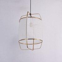 Bambus Anhänger LED Nordic lichter esszimmer hängen lampe moderne Restaurant küche kaffee zimmer Loft Hanglamp Stoff E27 90 220V-in Pendelleuchten aus Licht & Beleuchtung bei