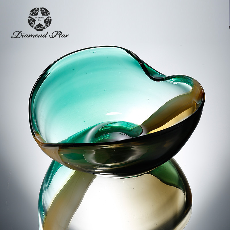 Алмазная звезда стеклянная пластина простой современный сад Двойной градиент цвета в форме сердца фруктовая чаша украшения для дома оптом - 3