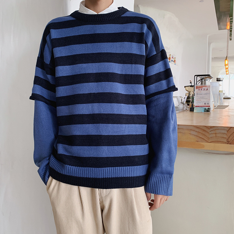 Sweater Men Warm Fashion Contrast Color Casual Striped Couple Sweter Streetwear Loose Fake Two-piece Knitting Pullover Men