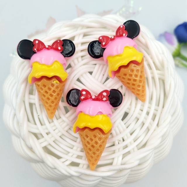 10pcs Mini Mickey ice cream Resin flatback Cabochons Accessories For Hair Clothing Shoes Planar DIY Home Decoration 5