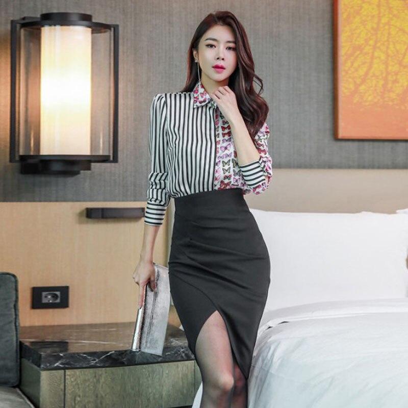 WOMEN'S Suit 2019 Autumn Ol Career Elegant Butterfly Print Shirt High-waisted Sheath Skirt Two-Piece Set