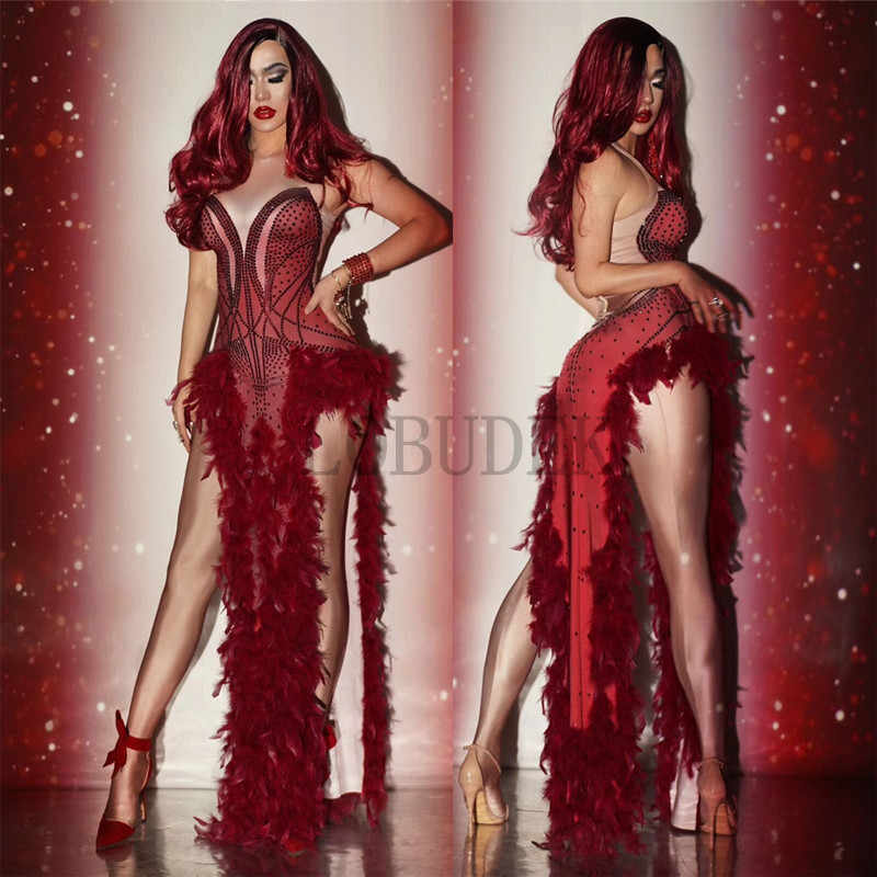 Red Feather Rhinestones Slit Dress Bar Nightclub Female Singer Stage Costume Women Prom Party Luxury Sexy Crystals Long Dress