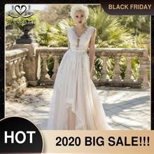 פיות V צוואר חרוזים חתונה שמלת חוף אפליקציות אשליה טול אונליין שרוולים Swanskirt D121 כלה שמלת Vestido דה novia