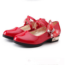 Red Black Childrens Girls Leather Shoes Kids High Heeled Princess For Party Wedding Big dancing 4-16T