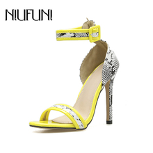 Fashion Mix Color Snake Pattern Womens Sandals Belt Buckle Stiletto High Heels 2019 Summer New Arrival Plus Size 35-42