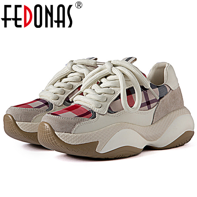 FEDONAS Gingham Patchwork Genuine Leather Women Flats Fashion Casual Sports Shoes Woman Comfortable Comfortable Women Sneakers