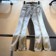 Flare Jeans Spring Denim Pants Stretch Slim Fashion Women Autumn Split-Bead-Diamonds