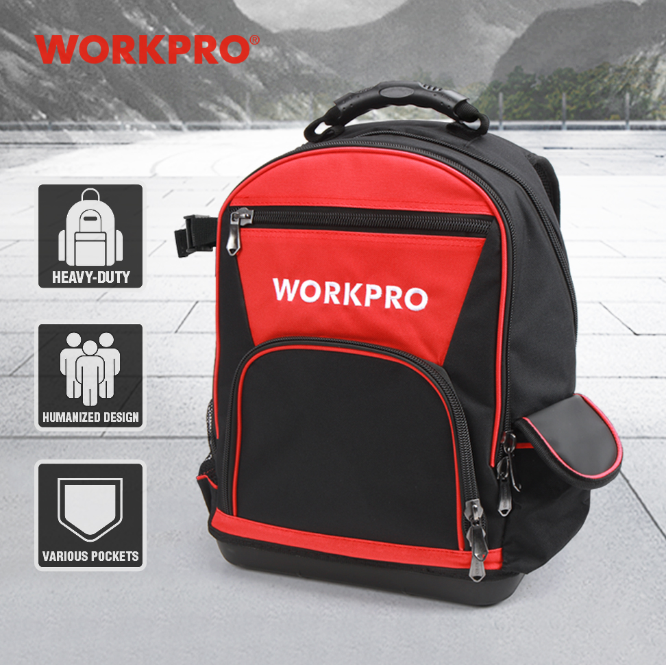 WORKPRO 2020 New Tool Bag Zaino da 17 '' Organizer impermeabile Borsa da 60 tasche multifunzione per uomo